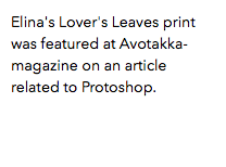 Elina's Lover's Leaves print was featured at Avotakka-magazine on an article related to Protoshop.